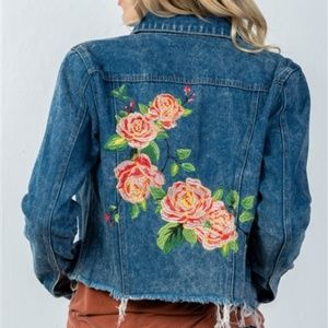 Jackets & Blazers - Embroidered denim jacket